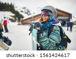 Happy Snowboarder On The...