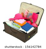 suitcase with clothes isolated...   Shutterstock . vector #156142784