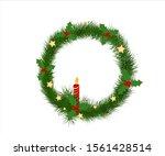 christmas fir tree wreath with... | Shutterstock .eps vector #1561428514
