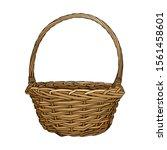 hand drawn empty wicker picnic... | Shutterstock .eps vector #1561458601