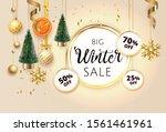 golden christmas holiday winter ... | Shutterstock .eps vector #1561461961