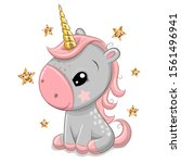 cute cartoon unicorn with gold...   Shutterstock .eps vector #1561496941