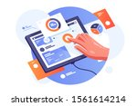 modern tablet with infographics ... | Shutterstock .eps vector #1561614214