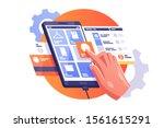 man doing shopping vector... | Shutterstock .eps vector #1561615291