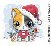 Stock vector cute cartoon kitten in a knitted cap sits on a snow 1561702294