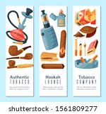 cigar  tobacco and hookah... | Shutterstock .eps vector #1561809277