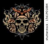 samurai skull illustration with ... | Shutterstock .eps vector #1561901884
