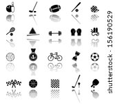 vector black sports icons set  | Shutterstock .eps vector #156190529