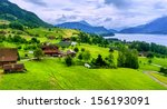 swiss alps mountains view | Shutterstock . vector #156193091