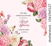 set of card with flower rose ... | Shutterstock . vector #1561965127