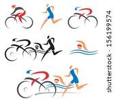 icons symbolizing triathlon ...