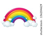 Color Rainbow With Clouds  Wit...