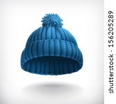 knitted blue cap  vector... | Shutterstock .eps vector #156205289