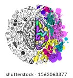 hand drawn brain  left and... | Shutterstock .eps vector #1562063377
