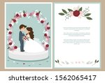cute bride and groom with... | Shutterstock .eps vector #1562065417