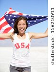 athlete woman with american... | Shutterstock . vector #156210911
