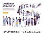 people crowd stand in queue.... | Shutterstock .eps vector #1562183131