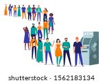 line to atm. people stand in... | Shutterstock .eps vector #1562183134