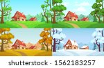 cartoon house in woods. forest... | Shutterstock .eps vector #1562183257