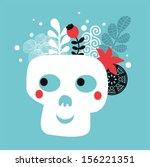 skull with flowers. vector...   Shutterstock .eps vector #156221351