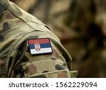 Flag of Serbia on military uniform. Army, armed forces, soldiers. Collage.
