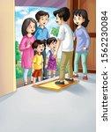 illustration of family in the... | Shutterstock . vector #1562230084