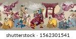 dragon  samurai and geishas.... | Shutterstock .eps vector #1562301541
