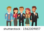 happy business team with fist... | Shutterstock .eps vector #1562309857