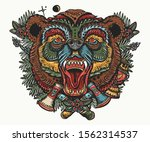 bear head portrait. old school... | Shutterstock .eps vector #1562314537