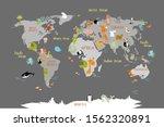 vector world map on gray... | Shutterstock . vector #1562320891