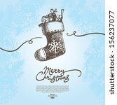 christmas background with hand... | Shutterstock .eps vector #156237077
