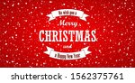 christmas red background. merry ... | Shutterstock . vector #1562375761