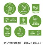 set flat vegan icon on white... | Shutterstock .eps vector #1562415187