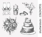 vector set of  hand drawn... | Shutterstock .eps vector #156242951