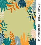 tropical floral frame  vector.... | Shutterstock .eps vector #1562448427