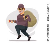 the thief is walking with a... | Shutterstock .eps vector #1562466844