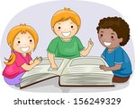 Illustration of Kids Reading Passages from a Large Book