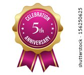 pink gold five year anniversary ... | Shutterstock .eps vector #156250625