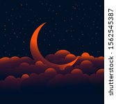 young moon in the clouds with...   Shutterstock .eps vector #1562545387