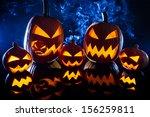 collection of halloween pumpkin ... | Shutterstock . vector #156259811