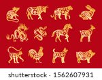 gold on red chinese horoscope.... | Shutterstock .eps vector #1562607931