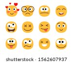 fun smile emoticons faces. flat ...   Shutterstock .eps vector #1562607937