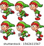 happy running christmas elf... | Shutterstock .eps vector #1562611567