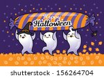 three ghosts with candy run... | Shutterstock .eps vector #156264704