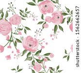 watercolor floral seamless... | Shutterstock .eps vector #1562662657