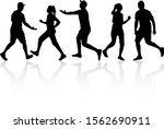 people black silhouettes ... | Shutterstock . vector #1562690911