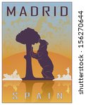 madrid vintage poster in orange ... | Shutterstock .eps vector #156270644