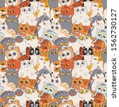 seamless pattern with cats.... | Shutterstock .eps vector #1562730127