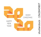 happy new year logo orange 2020 ...   Shutterstock .eps vector #1562845807