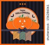 happy halloween greeting  card. ... | Shutterstock .eps vector #156286061